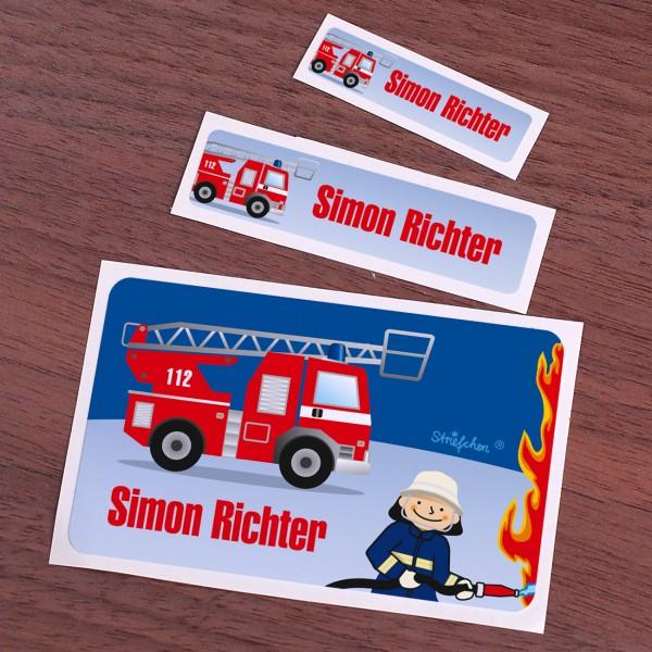 Schulaufkleber mit Feuerwehrmotiv und Namen