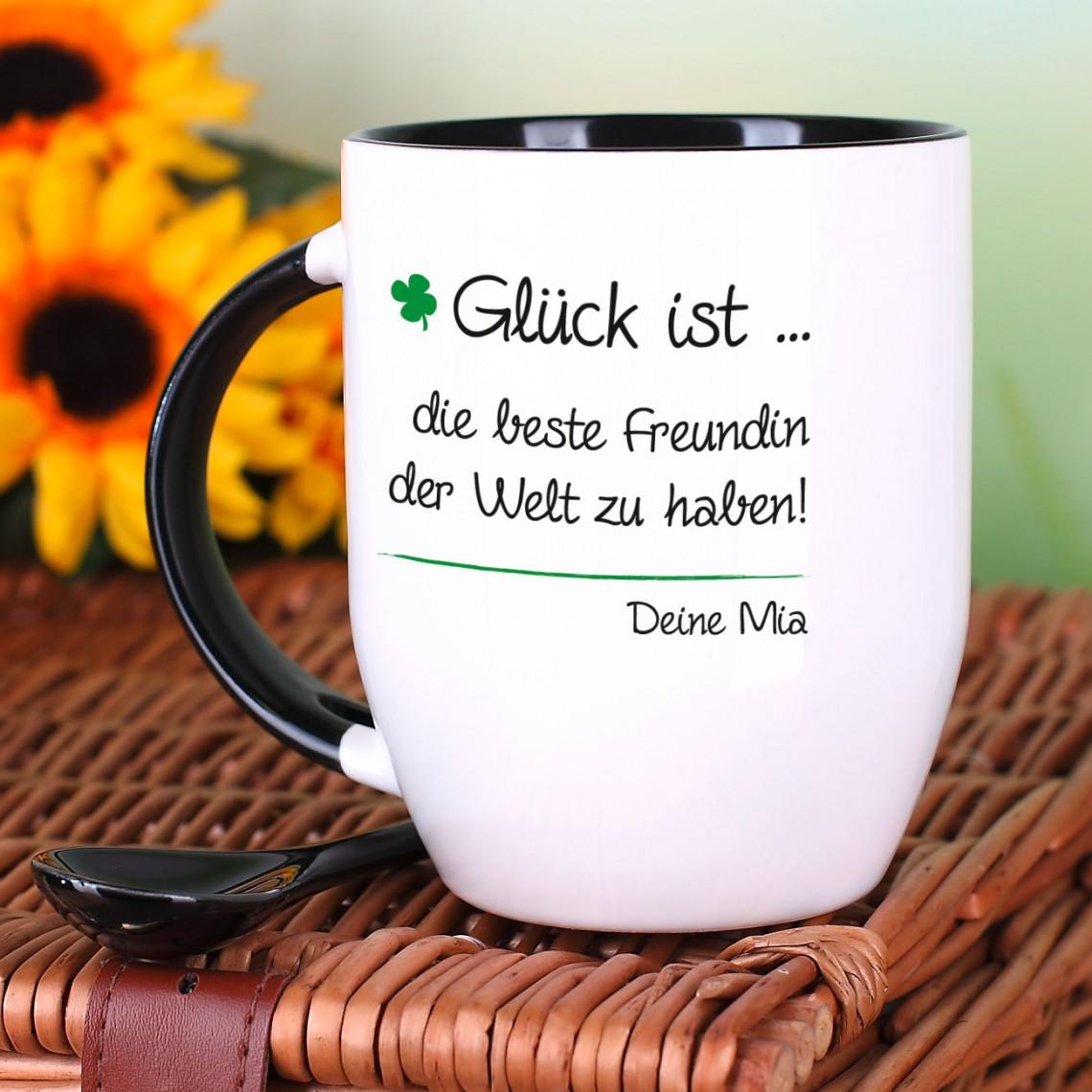 Kaffeebecher mit Löffel – Glück ist – mit Wunschtext