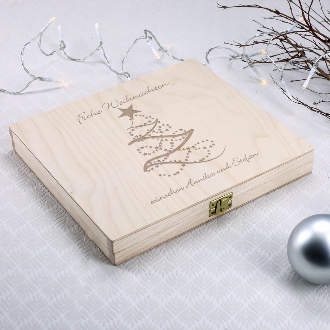 Persönlich gravierte Holzbox für Weihnachten